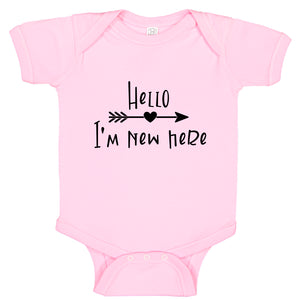 Ink Trendz® Hello I'm New Here Cute Announcement Baby Romper Bodysuit in baby pink Baby Girls Onesie Onesie