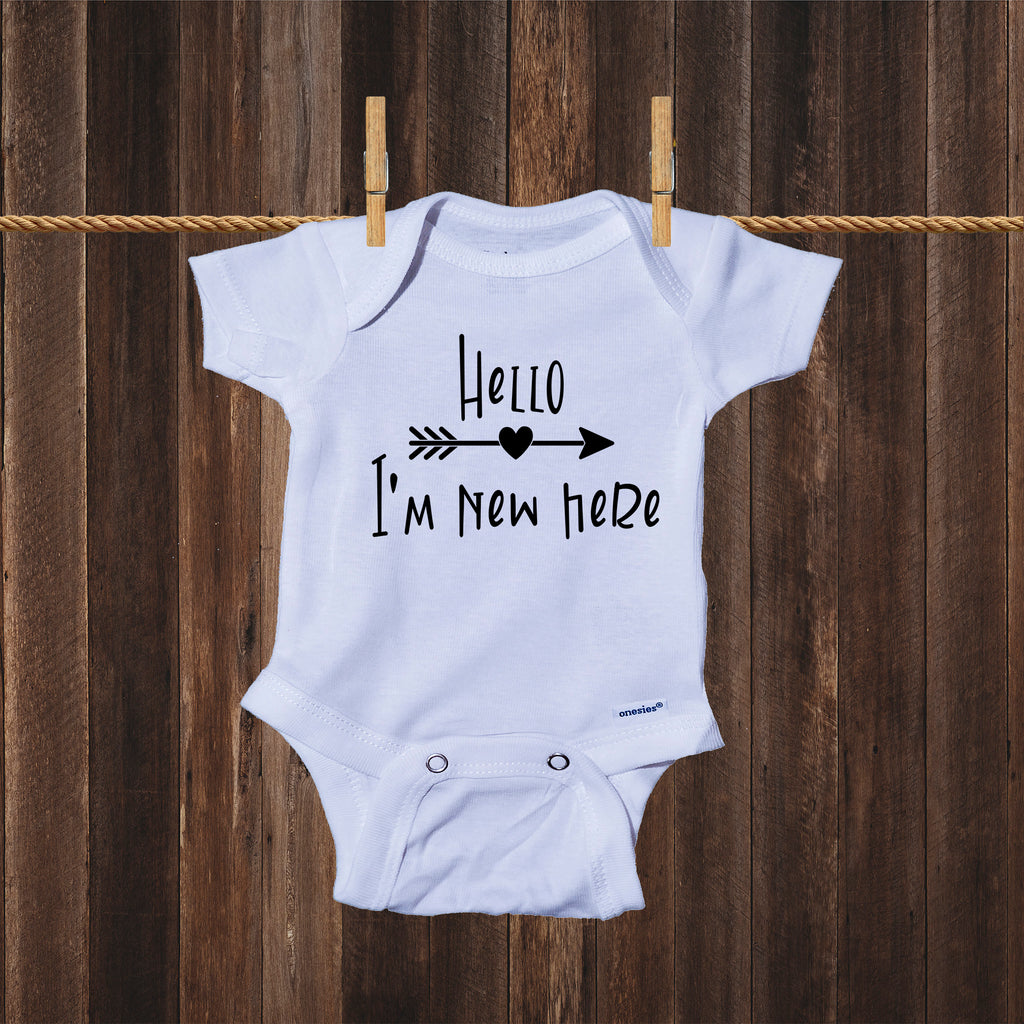 Ink Trendz® Hello I'm New Here Cute Announcement Baby Romper Bodysuit