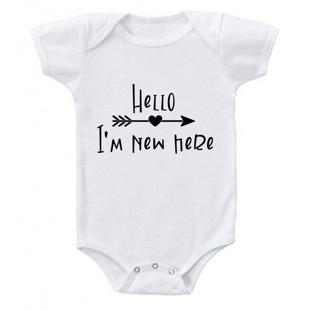Ink Trendz® Hello I'm New Here Cute Announcement Baby Romper Bodysuit in White  Onesie