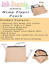 "Load image into Gallery viewer, Ink Trendz® Hemp Canvas 9"" x 7"" Zipper Pouch 