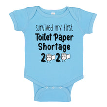 Load image into Gallery viewer, Ink Trendz® Survived My First Toilet Paper Shortage Quarantine Baby Baby Bodysuit, TOILET PAPER SHORTAGE