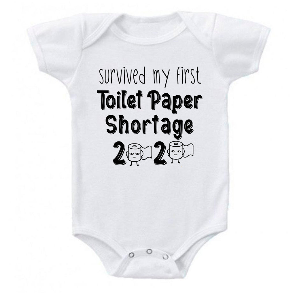 Ink Trendz® Survived My First Toilet Paper Shortage Quarantine Baby Baby Bodysuit, TOILET PAPER SHORTAGE