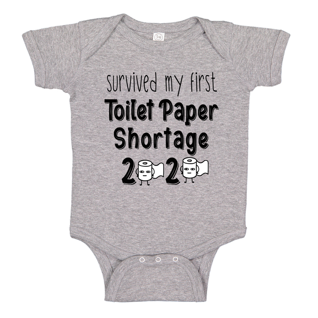 Ink Trendz® Survived My First Toilet Paper Shortage Quarantine Baby Baby Bodysuit, TOILET PAPER SHORTAGE BABY BOYS PANDEMIC ONESIE