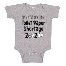 Load image into Gallery viewer, Ink Trendz® Survived My First Toilet Paper Shortage Quarantine Baby Baby Bodysuit, TOILET PAPER SHORTAGE BABY BOYS PANDEMIC ONESIE