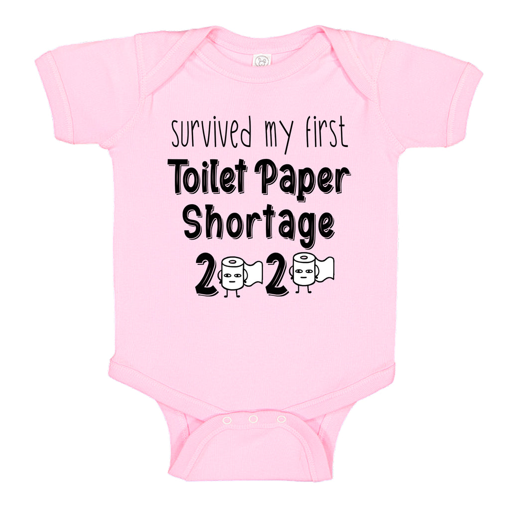 Ink Trendz® Survived My First Toilet Paper Shortage Quarantine Baby Baby Bodysuit, TOILET PAPER SHORTAGE BABY GIRLS PANDEMIC ONESIE