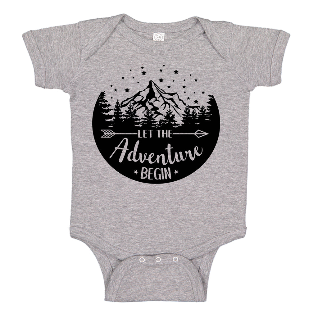 Ink Trendz® Let The Adventure Begin Baby Pregnancy Announcement Baby Bodysuit One piece Romper Heather Grey baby reveal onesie
