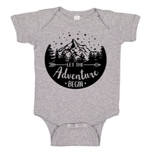 Load image into Gallery viewer, Ink Trendz® Let The Adventure Begin Baby Pregnancy Announcement Baby Bodysuit One piece Romper Heather Grey baby reveal onesie