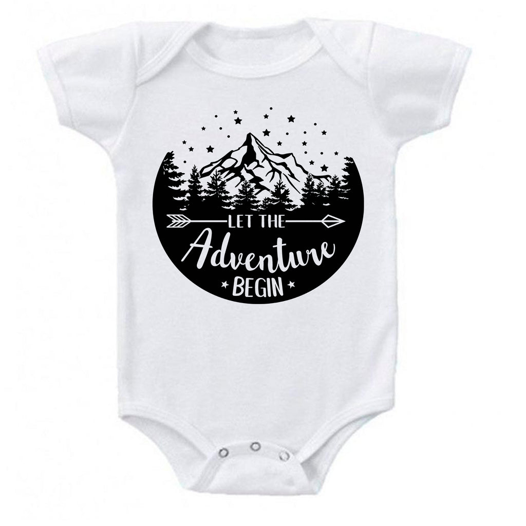 Ink Trendz® Let The Adventure Begin Baby Pregnancy Announcement Baby Bodysuit One piece Romper white baby reveal onesie