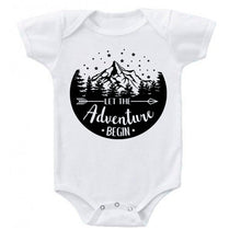 Load image into Gallery viewer, Ink Trendz® Let The Adventure Begin Baby Pregnancy Announcement Baby Bodysuit One piece Romper white baby reveal onesie