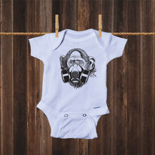 Load image into Gallery viewer, Ink Trendz® Primate Monkey Gas Mask Street Wear Pandemic Baby-Toddler One-piece Onesie®