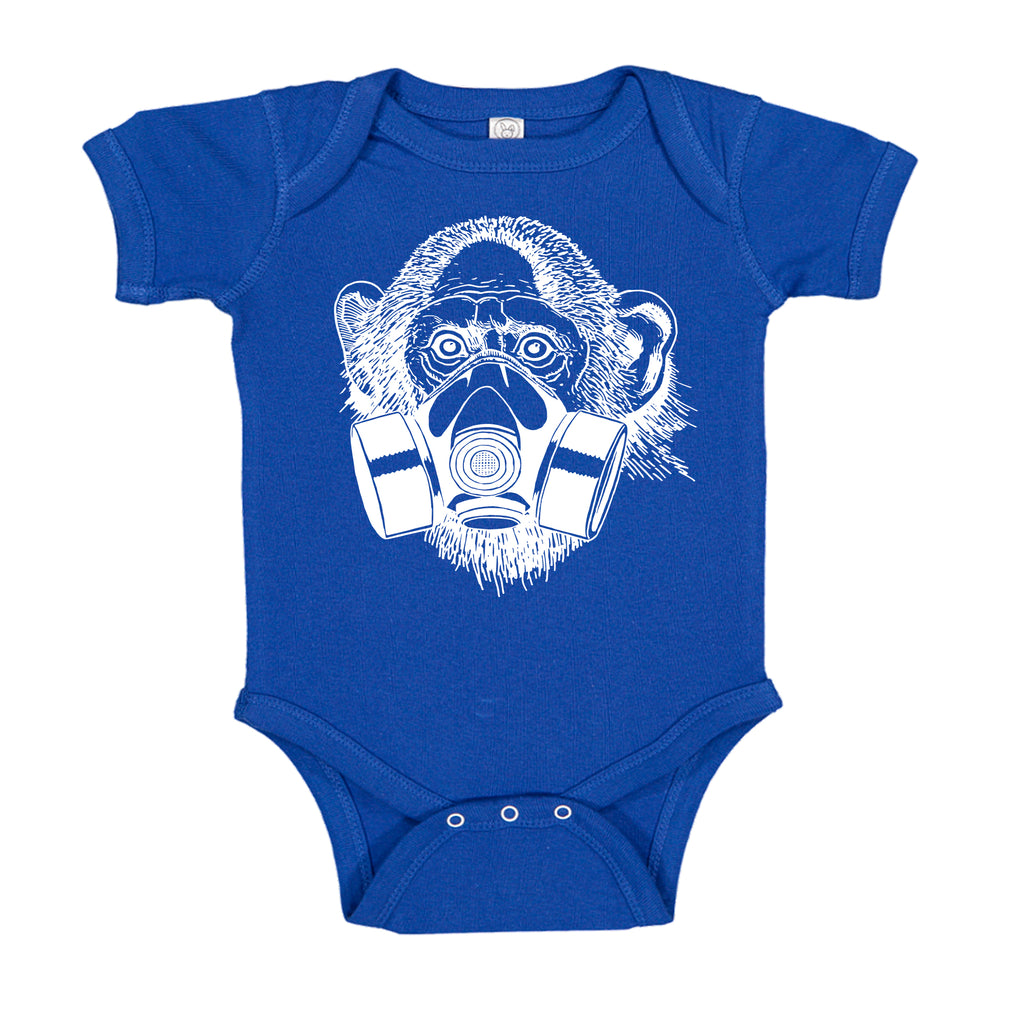 Ink Trendz® Pandemic Gas Mask Monkey Quarantine  Baby-Toddler One-piece Bodysuit  onesie coronavirus t-shirt