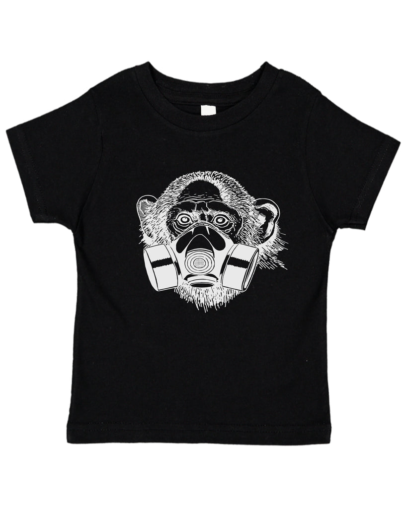 Ink Trendz® Pandemic Monkey Gas Mask Street Wear Toddler Tee T-Shirt in black Coronavirus