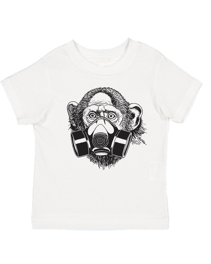 Ink Trendz® Pandemic Monkey Gas Mask Street Wear Toddler Tee T-Shirt Coronavirus gas Mask Face Mask T-Shirt