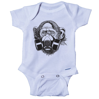 Ink Trendz® Primate Monkey Gas Mask Street Wear Pandemic Baby-Toddler One-piece Onesie® Street Wear Onesie