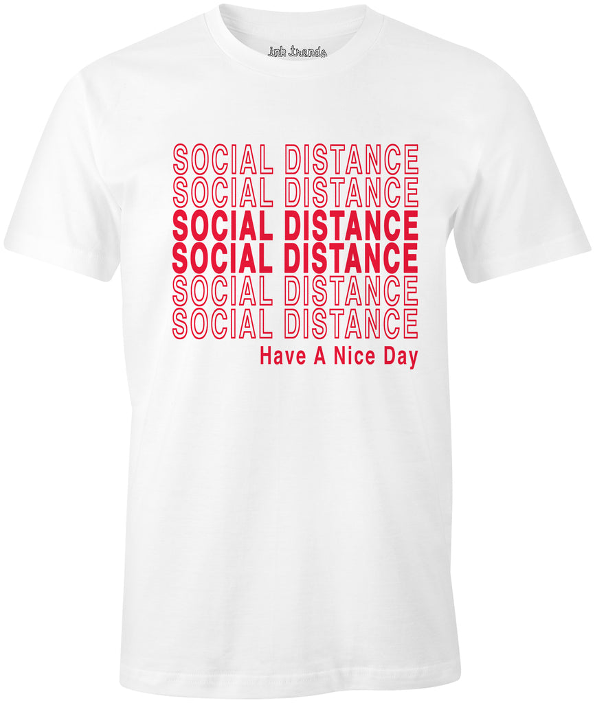 Ink Trendz® Social Distance Have A Nice Day  Shopping Themed est. 2020 Funny Covid-19 T-Shirt Coronavirus White T-Shirt