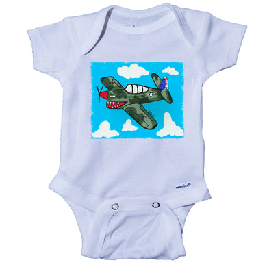 Ink Trendz® P-51 Mustang Cartoon Airplane Cute Baby Onesie® FUNNY MILITARY THEMED ONESIE, Navy Onesie, Army Onesie, WWII Onesie, Pearl Harbor Onesie