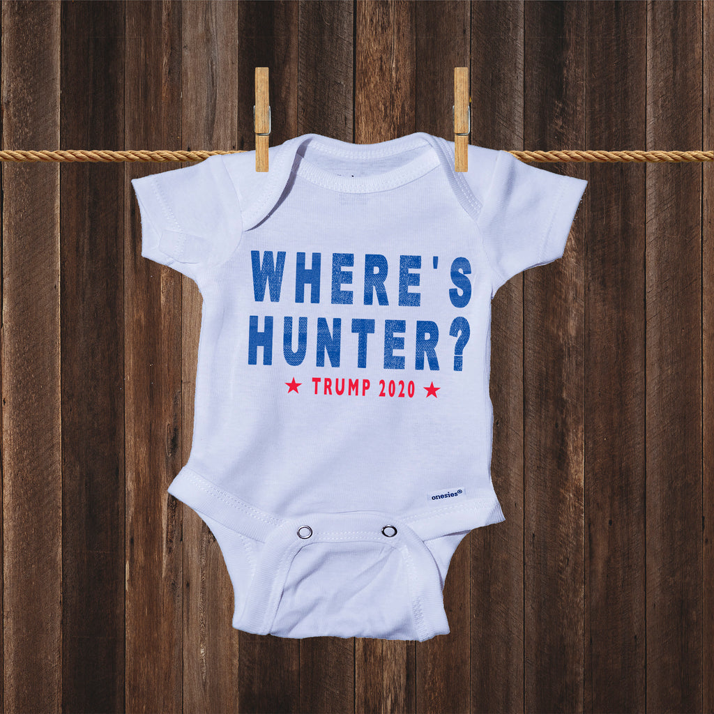 Ink Trendz Where's Hunter? Trump 2020 Republican Baby  One-Piece Bodysuit