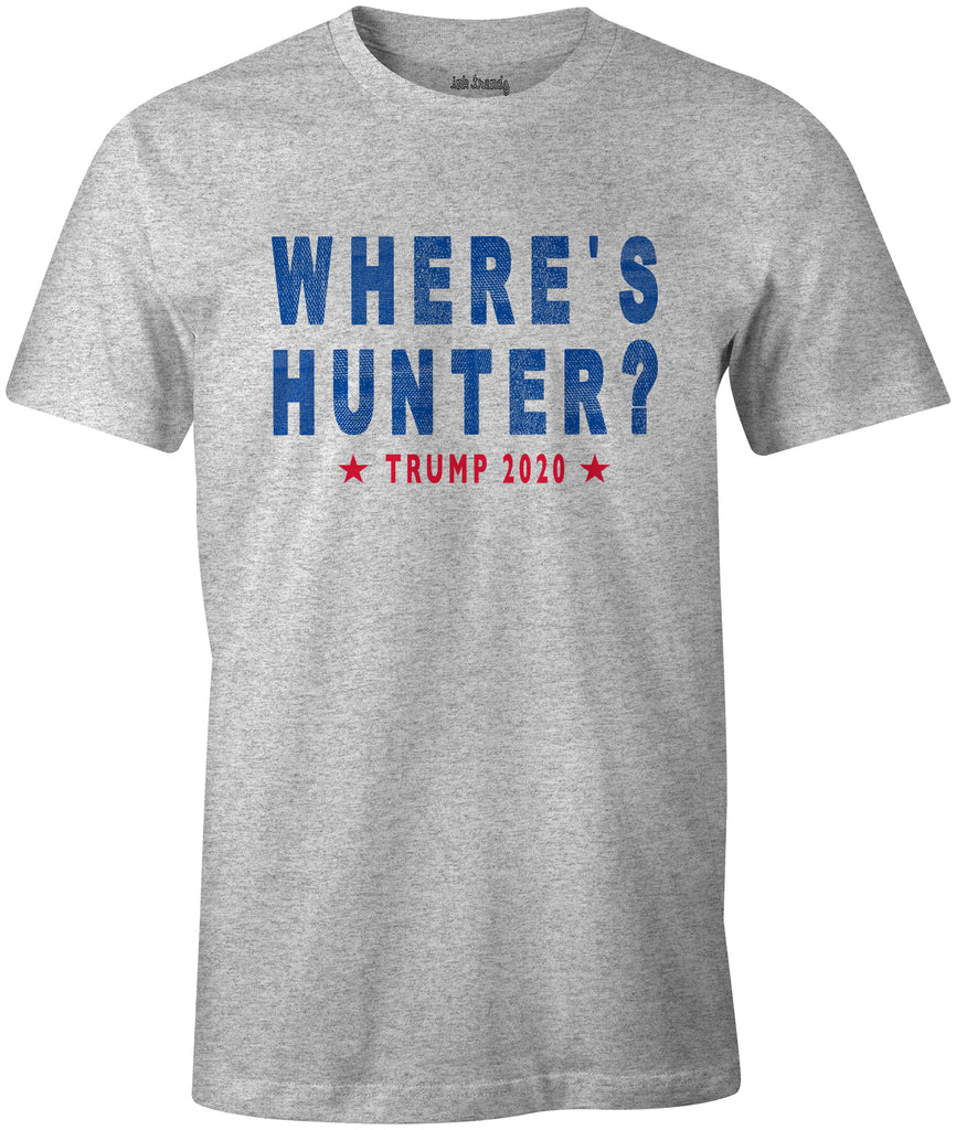 Ink Trendz® WHERE's HUNTER? TRUMP 2020 Funny Political T-Shirt. Funny poliitical T-shirts
