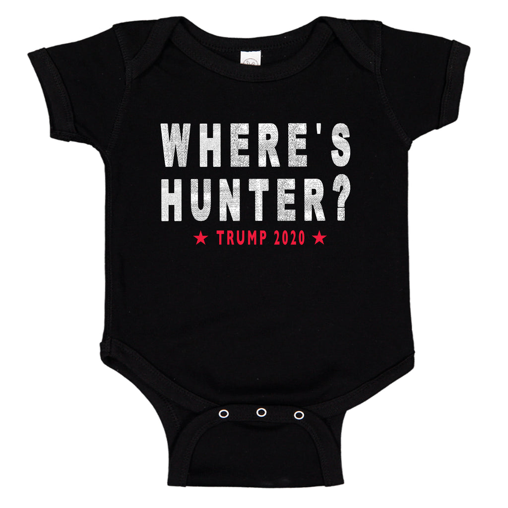 Ink Trendz® Where's Hunter? Biden Funny Trump Political Trump 2020 Onesie, Trump QuotesIn Black