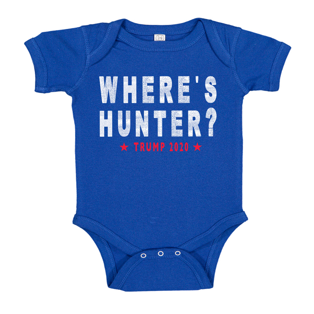 Ink Trendz® Where's Hunter? Biden Funny Trump Political Trump 2020 Onesie, Trump Quotes Royal Blue