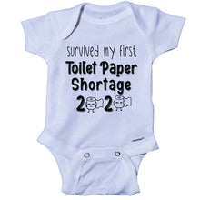 Load image into Gallery viewer, Ink Trendz® Survived My First Toilet Paper Shortage Quarantine Baby Onesie®