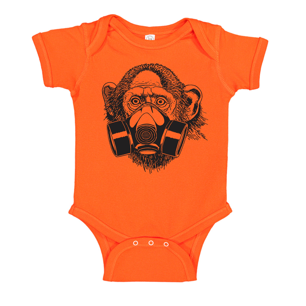 Ink Trendz® Pandemic Gas Mask Monkey Quarantine  Baby-Toddler One-piece Bodysuit