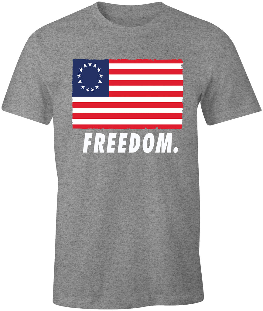 Ink Trendz® Freedom. Betsy Ross Patriotic Flag Premium Soft T-Shirt