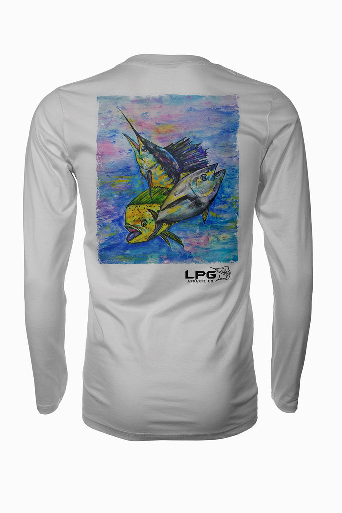 Tuna Mahi Marlin Combo  Long Sleeve Fishing Shirt for Unisex UPF 50 Dri-Fit Performance Rashguard T-Shirt