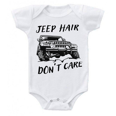 Jeep Hair Don't Care 4x4 Off-roading Baby Bodysuit Romper