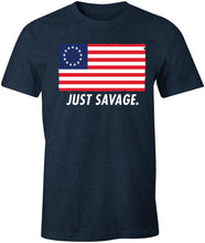 Load image into Gallery viewer, Just Savage. Betsy Ross Patriotic Premium Soft T-Shirt