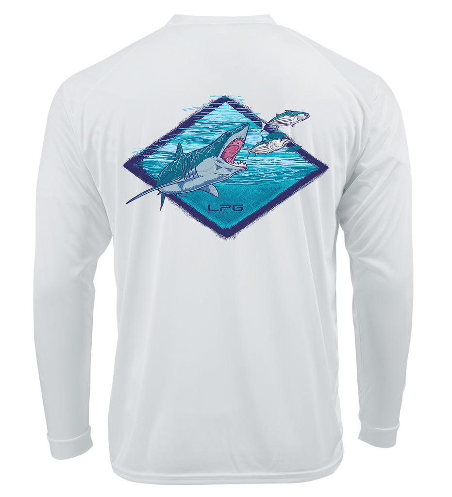 LPG Apparel Co. Mark Ray Bill Buster Long Sleeve Performance Surfing UPF50 Rashguard T-Shirt , Shark Fishing T-Shirt, Fishing T-Shirt, Fishing Apparel, Mako Shark Tee