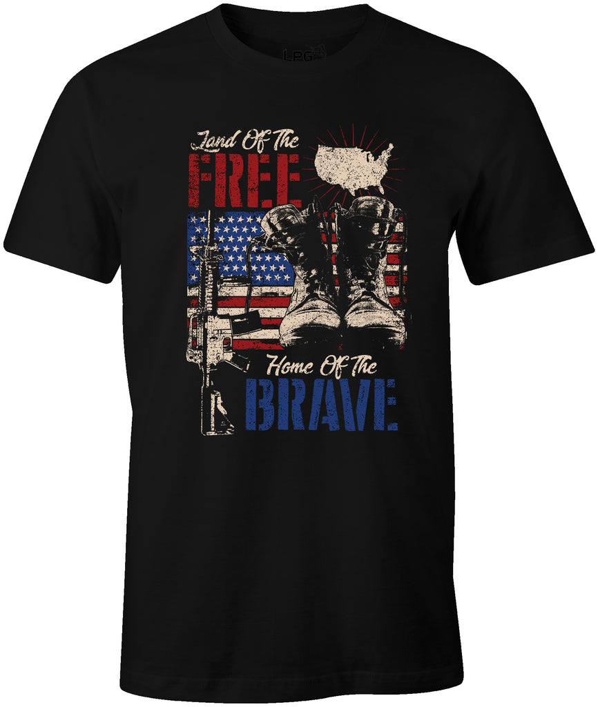Land of the Free Home of the Brave Military Patriotic USA Flag T-Shirt