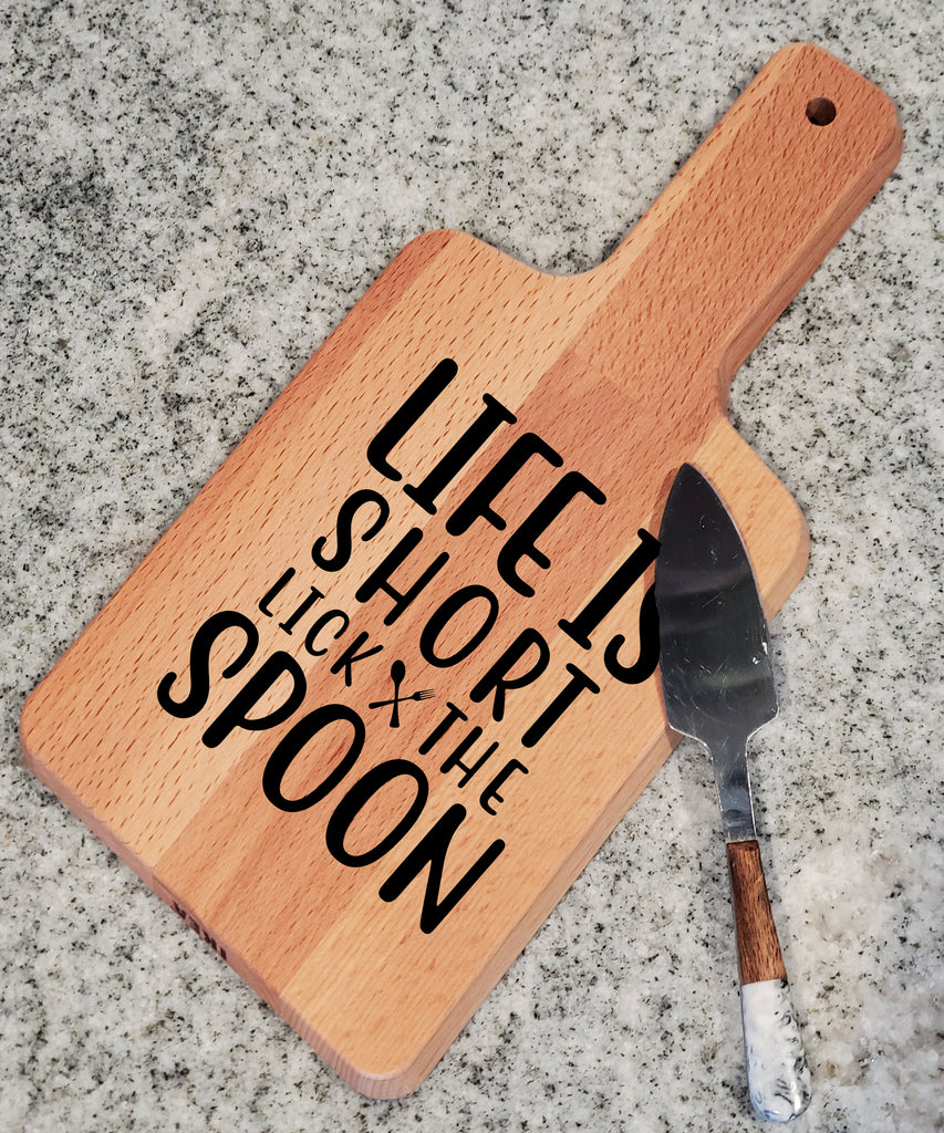 Ink Trendz Lifes Short Lick the Spoon Decorative Charcuterie Cheese Cutting Board