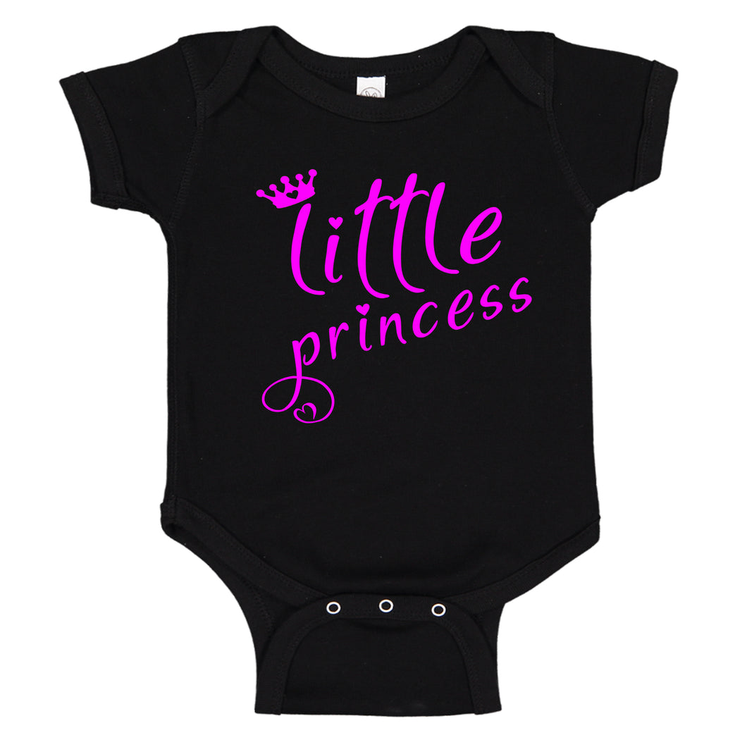 Little Princess Crown & Hearts Pink Font Cute Baby Girl Bodysuit