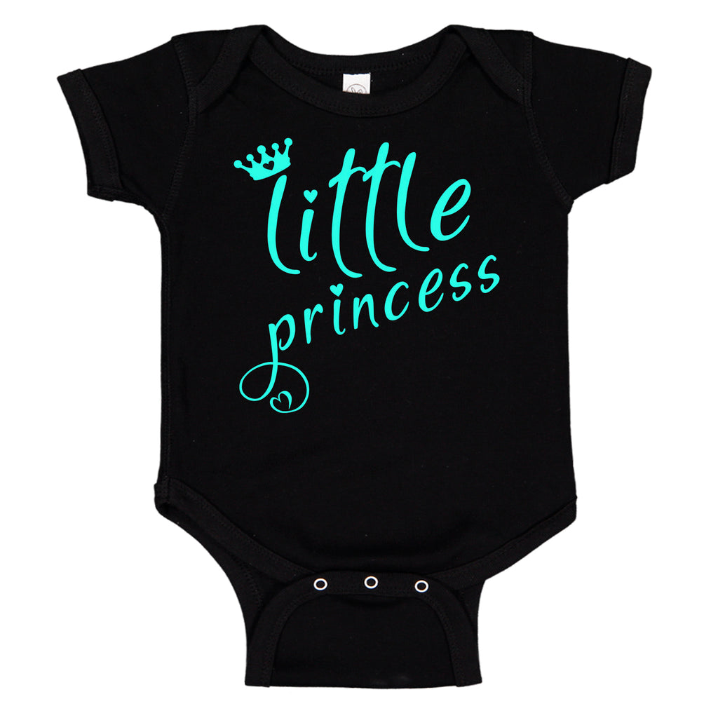 Little Princess Crown & Hearts Teal Cute Baby Bodysuit