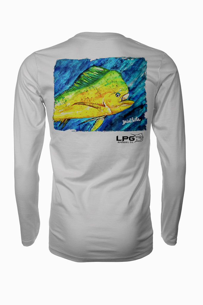 Mahi Vibes Long Sleeve Fishing Shirt for Unisex UPF 50 Dri-Fit Performance Rashguard T-Shirt