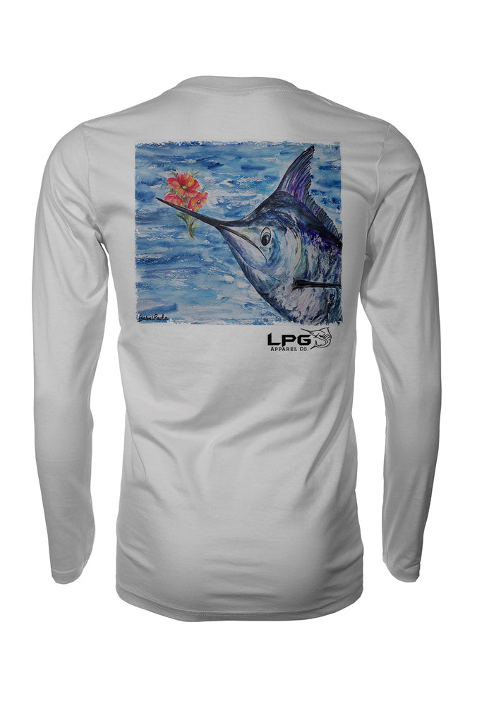 Marlin Paradise Flowers Long Sleeve Fishing Shirt for Unisex UPF 50 Dri-Fit Performance Rashguard T-Shirt