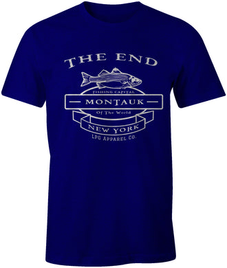THE END MONTAUK  Fishing Capital Striped Bass Fishing Tee T-Shirt