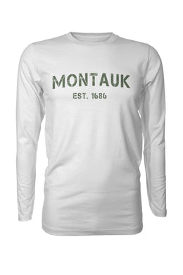 MONTAUK New York Stencil Grunge Est 1686 Long Sleeve Performance UPF50 T-Shirt