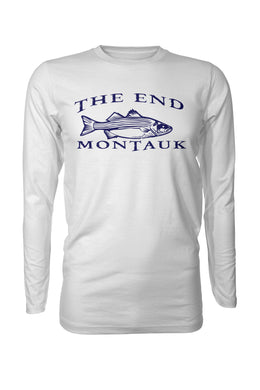Montauk New York Bass Fishing  Long Sleeve Performance UPF50 T-Shirt