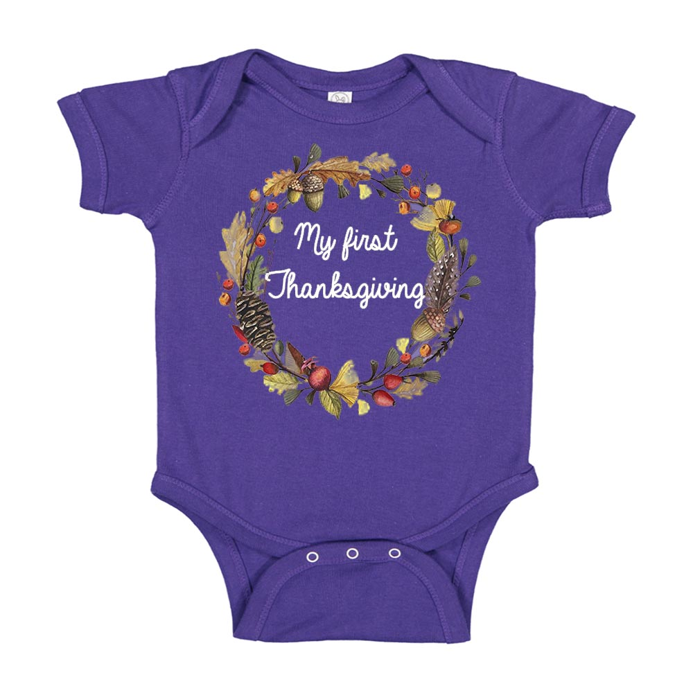 My First Thanksgiving Wreath Baby Bodysuit