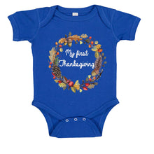 Load image into Gallery viewer, My First Thanksgiving Wreath Baby Bodysuit