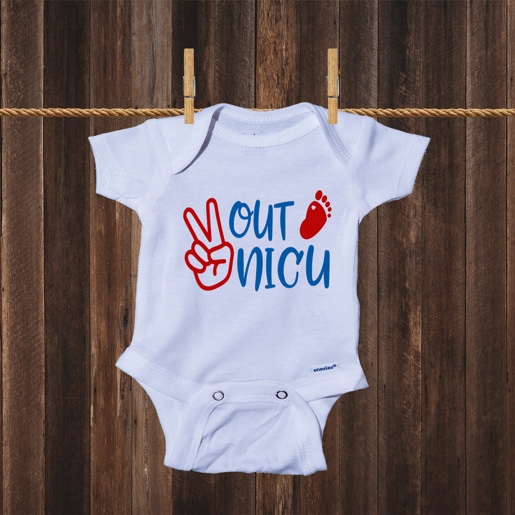 Peace Out NICU- Miracle Baby- NICU Baby Onesie® One-Piece Bodysuit- Ink Trendz