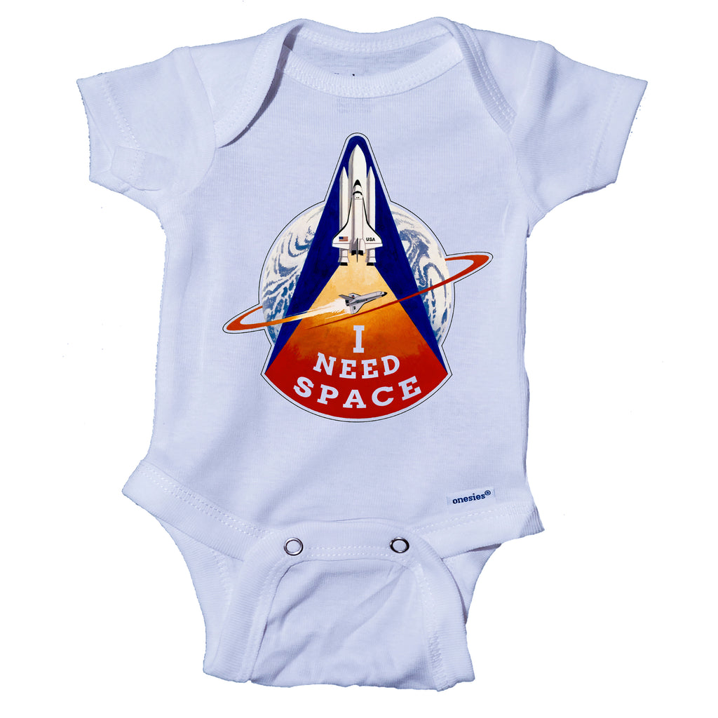 I NEED SPACE NASA Space Shuttle Themed Baby Onesie® One-Piece Bodysuit- Ink Trendz