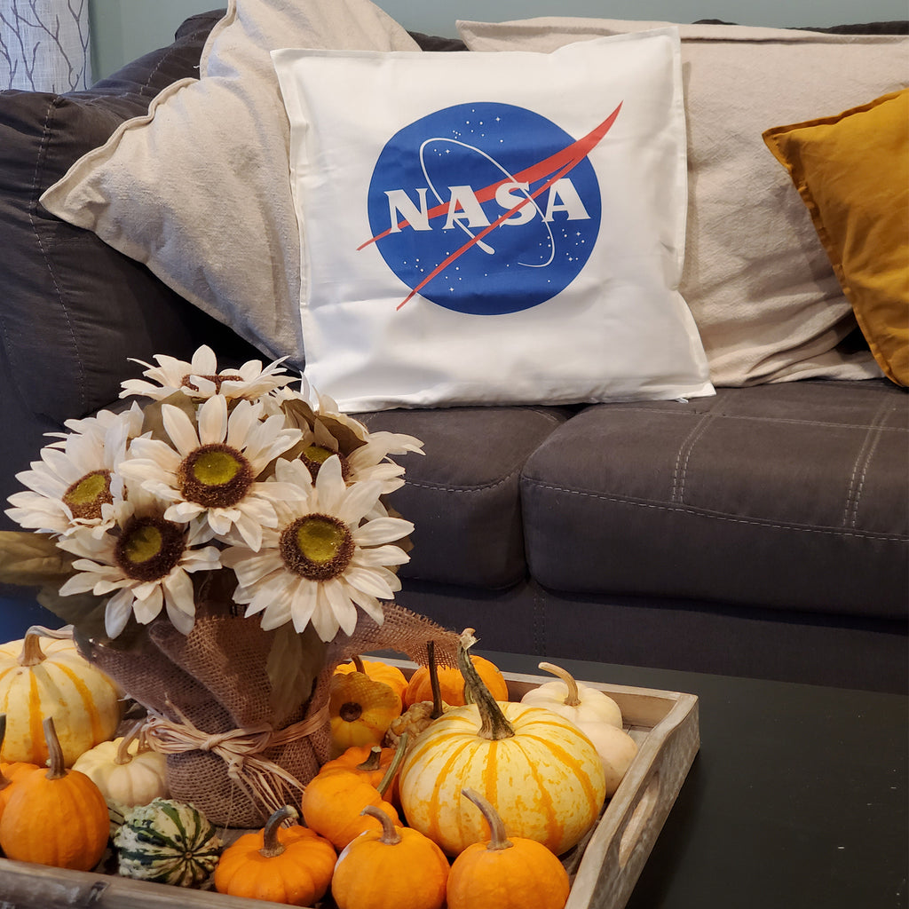 "Ink Trendz® NASA Meatball Logo Signature 20"" x 20"" Decorative  Throw Pillow for those Space and Nasa Lovers"