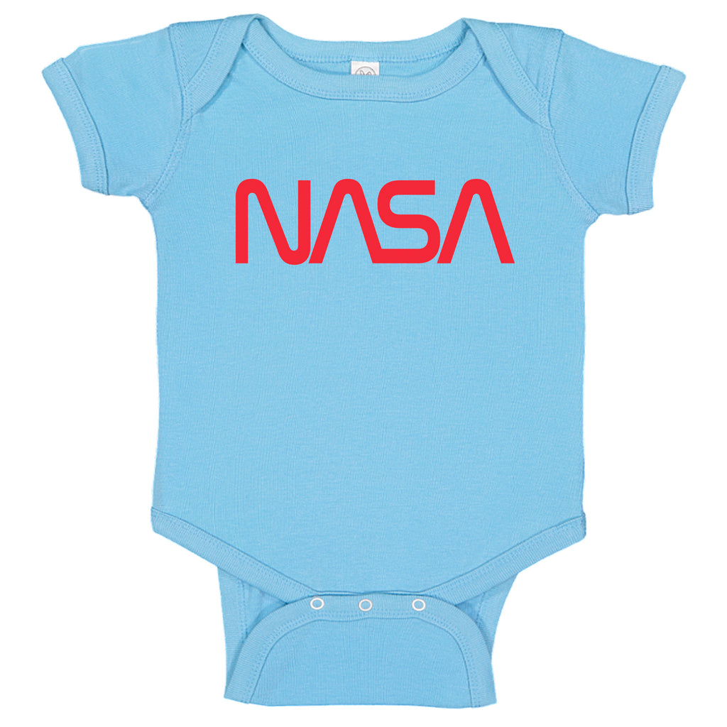 Vintage Nasa Signature Worm Red Logo Space Exploration Baby Bodysuit