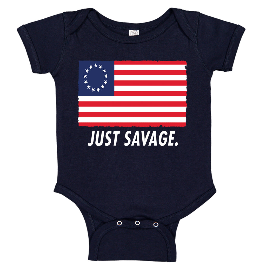 Just Savage. Betsy Ross Patriotic Premium Baby Romper Bodysuit