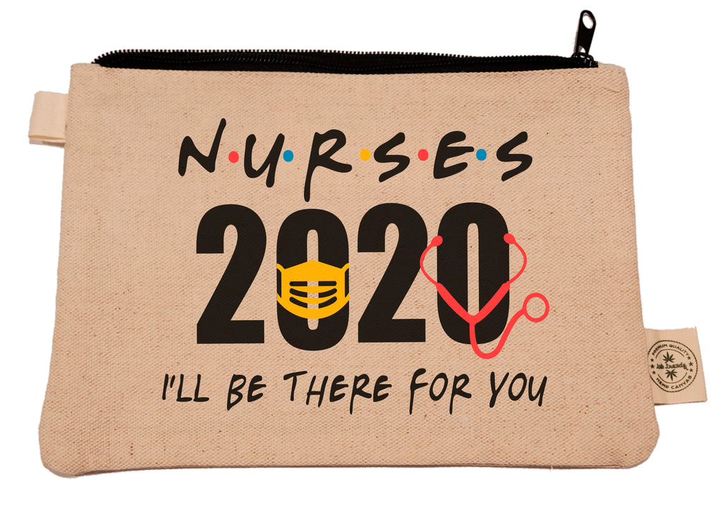 Ink Trendz®  Nurse I'll be there for you 2020 Pandemic Novelty Gift Zipper Hemp Pouch Bag, coronavirus pandemic, coronavirus tote bag