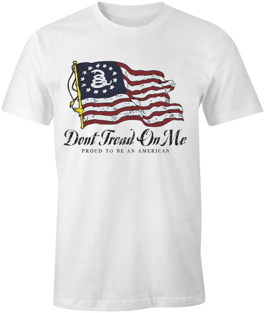 Ink Trendz® Betsy Ross Patriotic Gadsden Don't Tread On Me Smash-up Premium T-Shirt