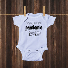 Load image into Gallery viewer, Ink Trendz® Survived My First Pandemic Quarantine Baby Onesie® Coronavirus Onesies, Quarantine Onesie